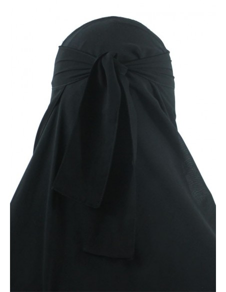 One Piece Niqab /w Nose String (Black)