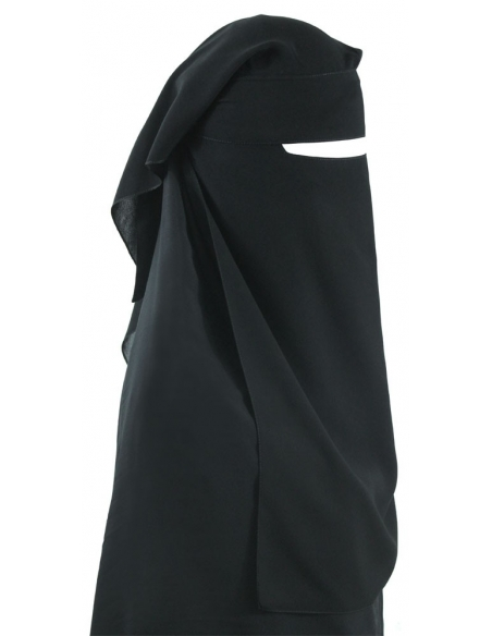 Narrow No-Pinch Two Piece Niqab (Black)