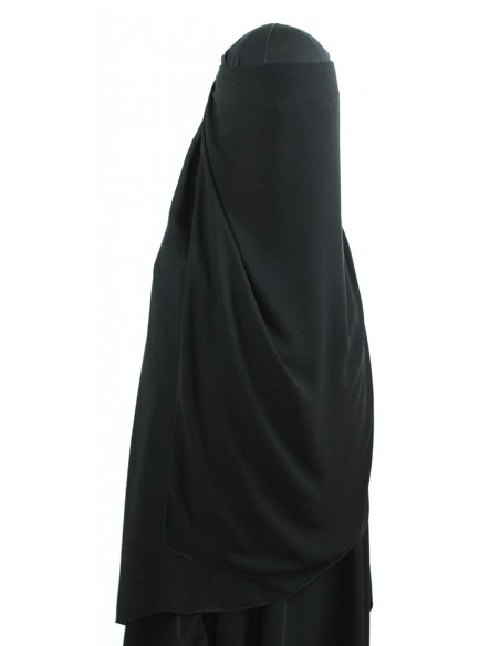 Long Three Piece Niqab (Black)