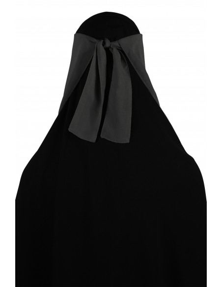 No-Pinch Two Piece Niqab (Dark Grey)