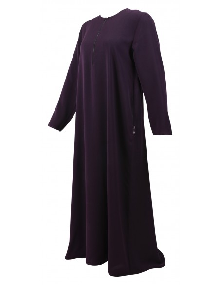 Essentials Closed Abaya - SLIM  (Eggplant) - Front