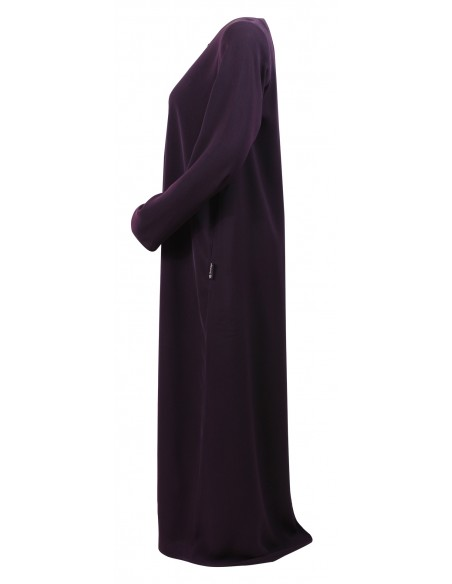 Essentials Closed Abaya - SLIM  (Eggplant) - Side