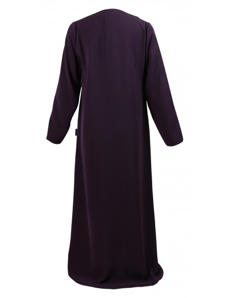 Essentials Closed Abaya - SLIM  (Eggplant) - Back