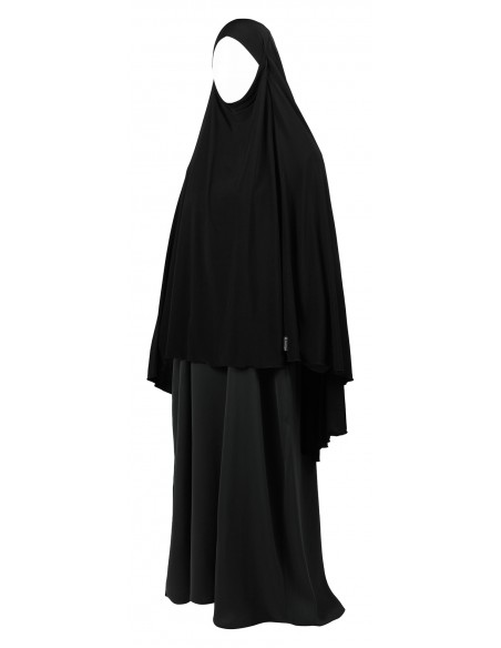 Jersey Khimar - Thigh Length (Black)