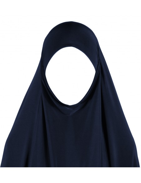 Jersey Khimar - Thigh Length (Navy Blue)