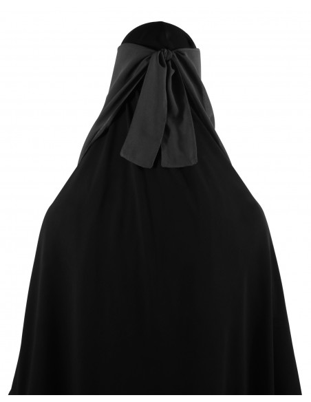 Long Two Piece Niqab (Dark Grey)