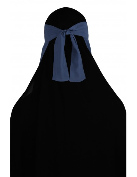 Narrow No-Pinch One Piece Niqab (Steel Blue)