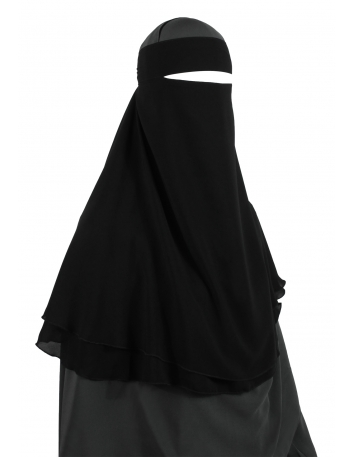 One Layer Snapp Niqab (Black)