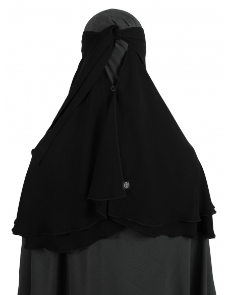 One Layer Snapp Niqab (Black) - With Snaps Together