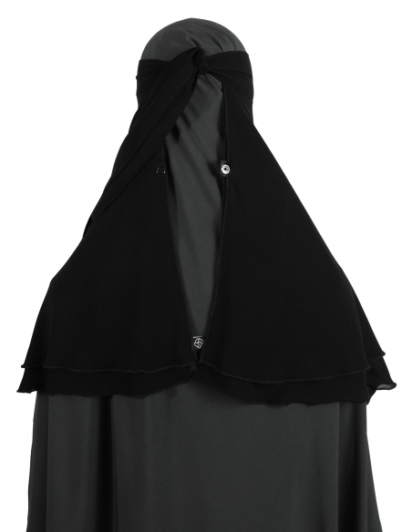 One Layer Snapp Niqab (Black) - With Snaps Open