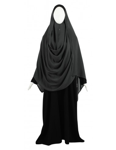 Hooded Wrap Hijab (Dark Grey) - Wrapped Loosely
