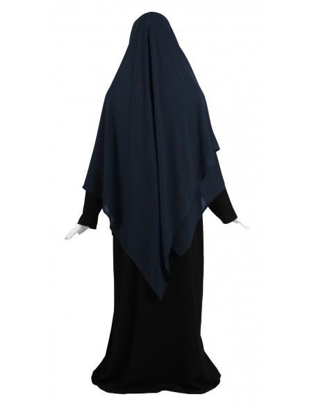 Hooded Wrap Hijab (Navy Blue) - Wrapped Loosely