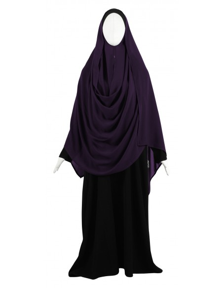 Hooded Wrap Hijab (Eggplant) - Wrapped Loosely
