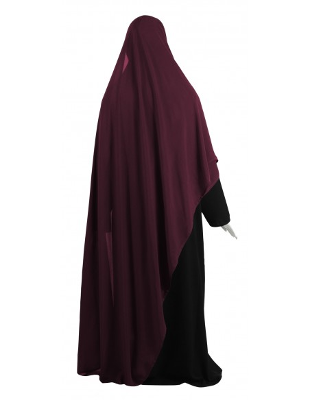 Hooded Wrap Hijab (Burgundy) - Wrapped Tight