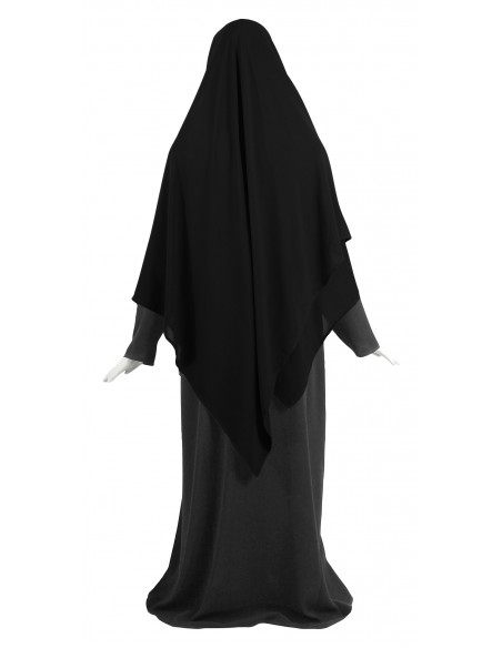 Hooded Wrap Hijab (Black) - Wrapped Loosely