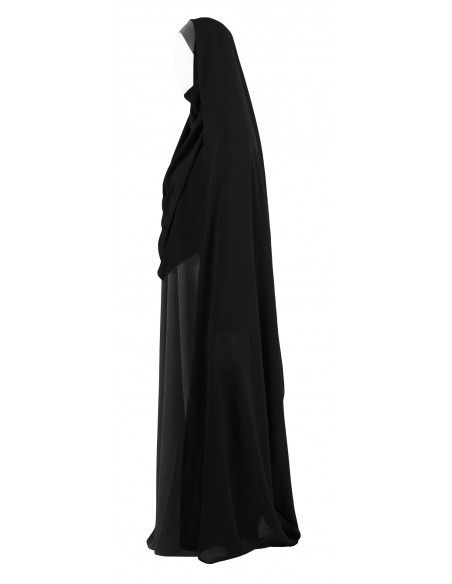 Hooded Wrap Hijab (Black) - Wrapped Tight
