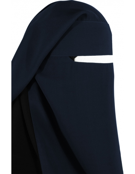 Narrow No-Pinch Two Piece Niqab (Navy Blue)