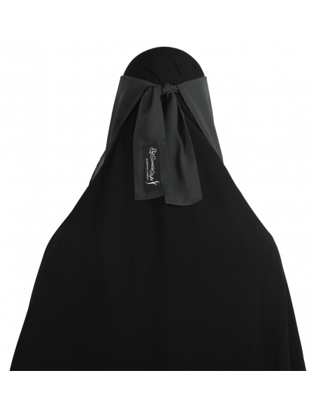 Narrow No-Pinch Two Piece Niqab (Dark Grey)