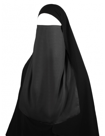 Long Tying Half Niqab (Dark Grey)