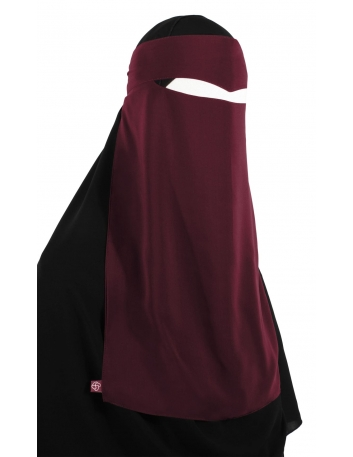 One Piece Widow's Peak Niqab (Burgundy)
