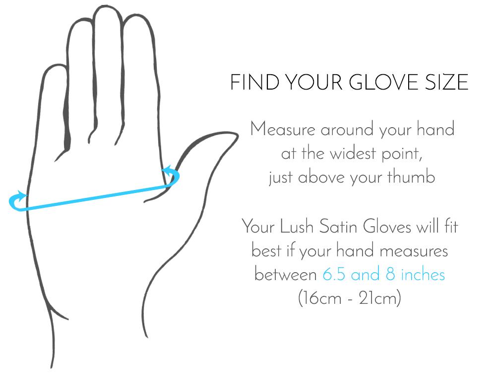 Lush Satin Gloves - Size Chart